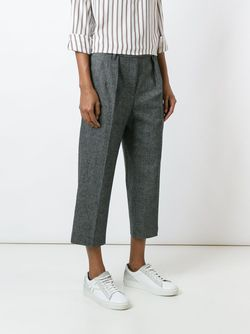 Front Pleat Cropped Trousers Brunello Cucinelli                                                                                                              черный цвет