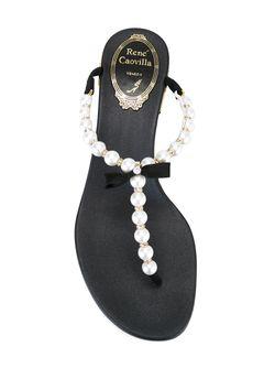 Босоножки С Украшением Из Жемчуга Rene' Caovilla                                                                                                              белый цвет