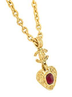 Ожерелье С Подвеской-Сердцем Chanel Vintage                                                                                                              серебристый цвет