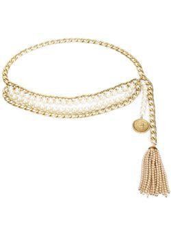 Цепочный Ремень С Кисточкой Chanel Vintage                                                                                                              серебристый цвет