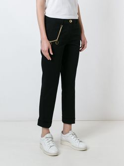 Chain Detail Cropped Trousers Love Moschino                                                                                                              чёрный цвет