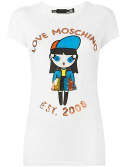 Футболка С Принтом Куклы Love Moschino                                                                                                              белый цвет