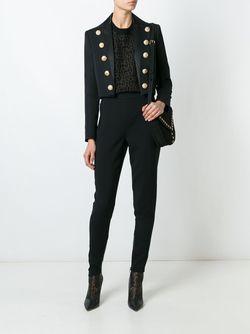 Укороченный Пиджак С Декоративными Пуговицами Balmain                                                                                                              черный цвет