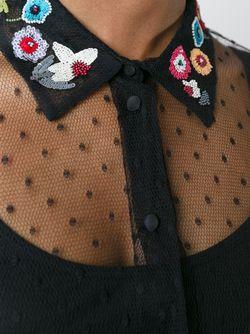 Прозрачная Рубашка С Вышитым Воротником Red Valentino                                                                                                              чёрный цвет