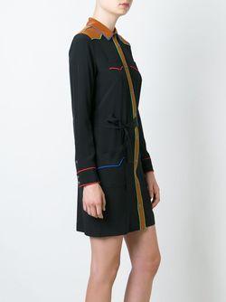 Платье-Рубашка С Контрастной Окантовкой COACH                                                                                                              черный цвет