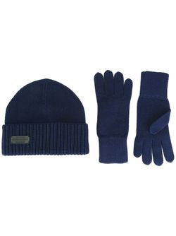 Комплект Из Шапки И Перчаток В Рубчик Dsquared2                                                                                                              синий цвет