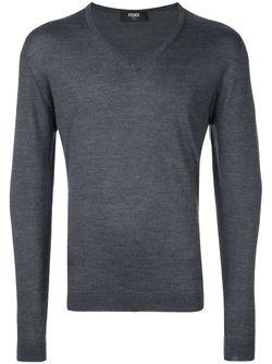 Свитер C V-Образным Вырезом Fendi                                                                                                              серый цвет
