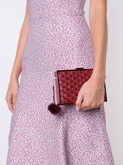 Плетеный Клатч С Помпоном Monique Lhuillier                                                                                                              красный цвет