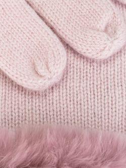 Перчатки С Меховой Отделкой N.PEAL                                                                                                              розовый цвет