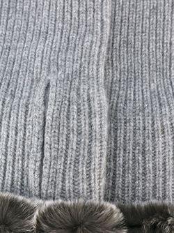 Митенки С Отделкой Из Кроличьего Меха N.PEAL                                                                                                              серый цвет