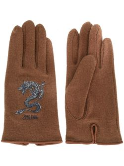 Dragon Embroidered Gloves JEAN PAUL GAULTIER VINTAGE                                                                                                              коричневый цвет