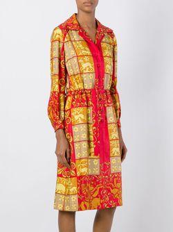 Платье-Рубашка С Барочным Узором Hermès Vintage                                                                                                              желтый цвет