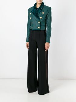 Укороченная Двубортная Куртка Balmain                                                                                                              зелёный цвет