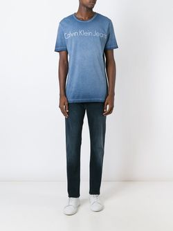 Футболка С Логотипом Calvin Klein Jeans                                                                                                              синий цвет