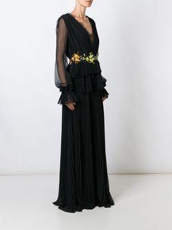 Плиссированное Платье С Кружевной Отделкой Ermanno Scervino                                                                                                              чёрный цвет