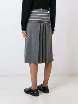 Юбка С Контрастными Полосами Thom Browne                                                                                                              серый цвет