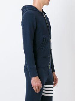 Толстовка С Капюшоном И Контрастными Полосами Thom Browne                                                                                                              синий цвет