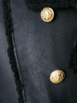 Двубортное Пальто Из Овчины Balmain                                                                                                              черный цвет