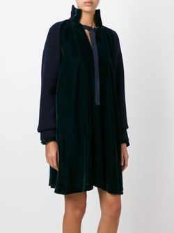 Knitted Sleeve Velvet Dress Sacai                                                                                                              зелёный цвет