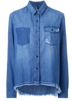 Рубашка С Неравномерным Подолом Nobody Denim                                                                                                              синий цвет