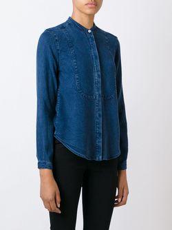 Рубашка Без Воротника С Джинсовым Эффектом YMC                                                                                                              синий цвет