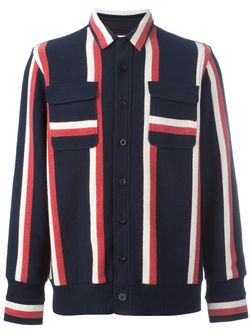 Striped Shirt Jacket Sacai                                                                                                              синий цвет