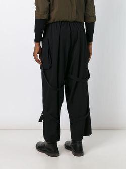 Брюки Свободного Кроя С Ремешками Yohji Yamamoto                                                                                                              чёрный цвет