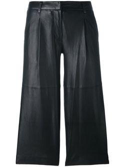 Кожаные Укороченные Брюки Michael Michael Kors                                                                                                              чёрный цвет