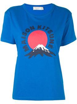 Футболка Mont Fuji Maison Kitsune                                                                                                              синий цвет
