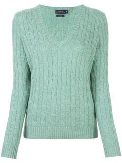 Cable Knit V Neck Jumper Polo Ralph Lauren                                                                                                              зелёный цвет