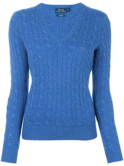 Cable Knit V Neck Jumper Polo Ralph Lauren                                                                                                              синий цвет