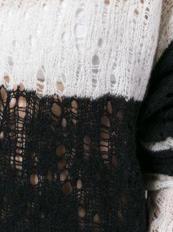 Полосатый Удлиненный Джемпер С Рваной Отделкой UNRAVEL                                                                                                              чёрный цвет