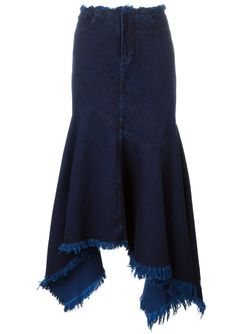 Frayed Asymmetric Denim Skirt Marques Almeida                                                                                                              синий цвет