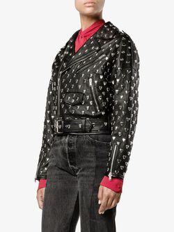 Байкерская Куртка С Заклепками В Виде Сердца Saint Laurent                                                                                                              чёрный цвет