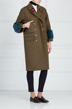 Шерстяное Пальто С Отделкой Из Меха Норки Gucci                                                                                                              хаки цвет