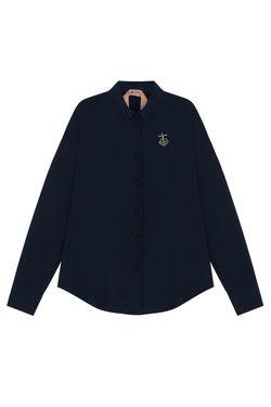 Однотонная Блузка No21                                                                                                              синий цвет