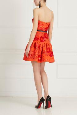 Шелковое Платье С Вышивкой Oscar de la Renta                                                                                                              Алый цвет