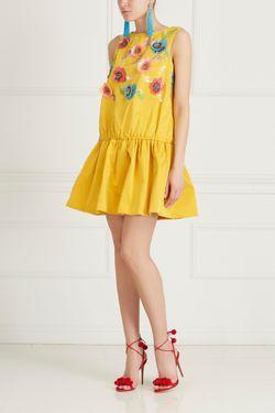 Платье С Вышивкой Oscar de la Renta                                                                                                              Горчичный цвет