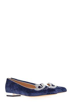 Вельветовые Слиперы The King Kitty Charlotte Olympia                                                                                                              голубой цвет