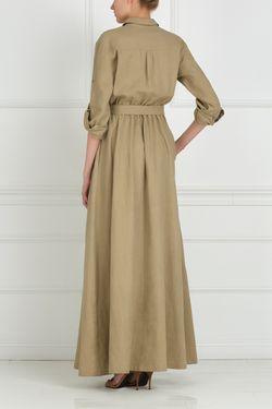 Платье Из Льна С Вышивкой Стеклярусом A La Russe                                                                                                              бежевый цвет