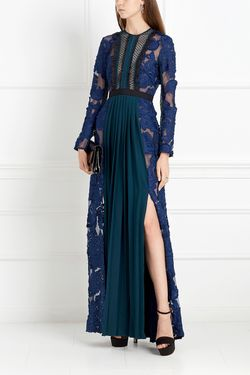 Кружевное Платье Self-Portrait                                                                                                              синий цвет
