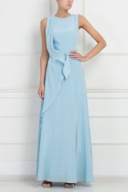 Шелковое Платье A La Russe                                                                                                              голубой цвет