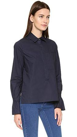 Блуза Из Ткани В Рубчик С Отделкой Derek Lam 10 Crosby                                                                                                              Ночное Небо цвет