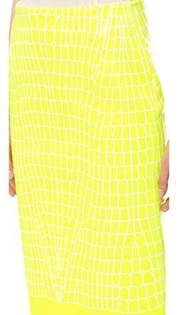 Утепленная Юбка С Тиснением Под Крокодила Dion Lee                                                                                                              желтый цвет