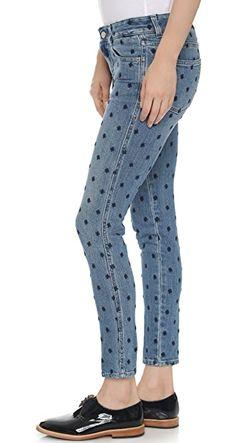 Джинсы-Скинни До Щиколоток Grazer Со Звездами Stella Mccartney                                                                                                              синий цвет