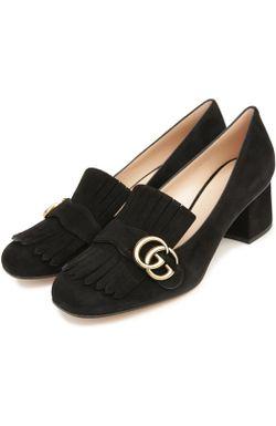 Замшевые Туфли Marmont С Пряжкой Gucci                                                                                                              чёрный цвет