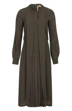 Приталенное Платье С Воротником Аскот И Плиссированной No. 21                                                                                                              хаки цвет
