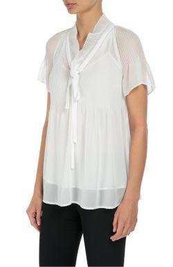 Полупрозрачный Шелковый Топ С V-Образным Воротником-Аскот Escada                                                                                                              белый цвет
