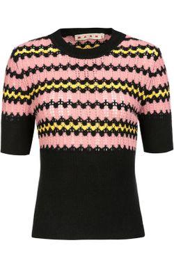 Приталенный Пуловер С Коротким Рукавом И Разрезами Marni                                                                                                              чёрный цвет