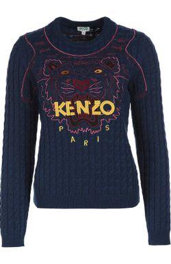 Пуловер Фактурной Вязки С Вышивкой Kenzo                                                                                                              синий цвет
